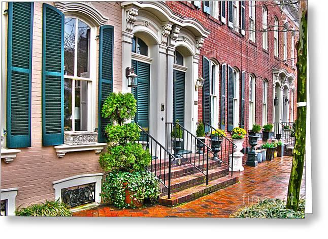Alexandria Virginia Greeting Cards - Alexandria Row Houses Greeting Card by Jack Schultz