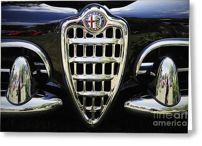 Antique Automobiles Photographs Greeting Cards - Alfa Romeo Greeting Card by Dennis Hedberg