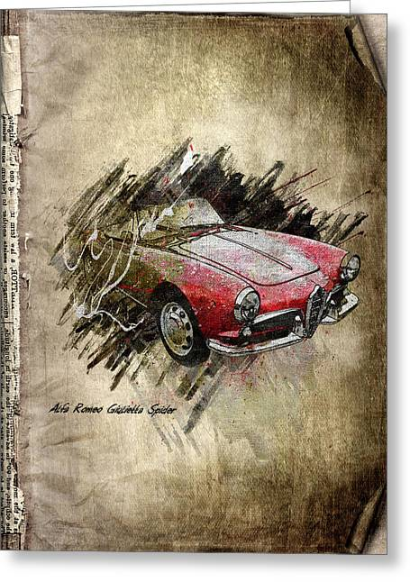Rare Mixed Media Greeting Cards - Alfa Romeo Greeting Card by Svetlana Sewell
