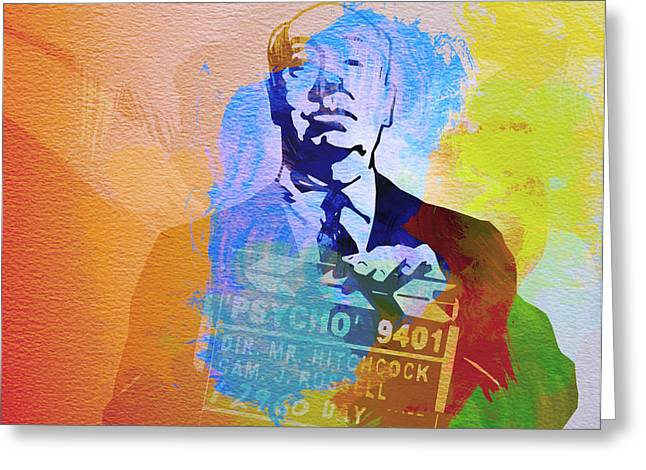 Film Watercolor Greeting Cards - Alfred Hitchcock Greeting Card by Naxart Studio