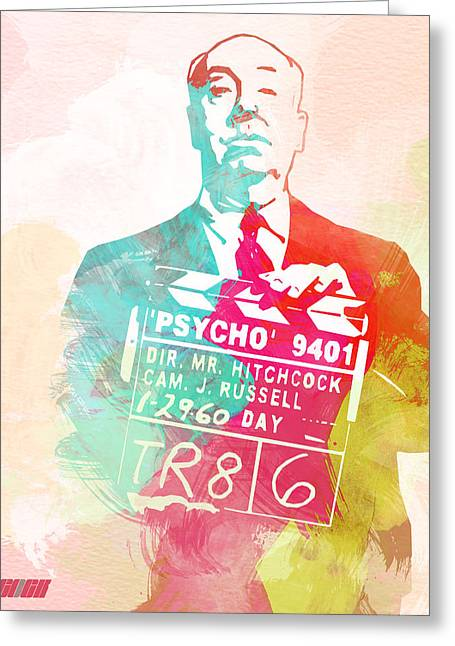Hitchcock Greeting Cards - Alfred Hitchcock Greeting Card by Naxart Studio
