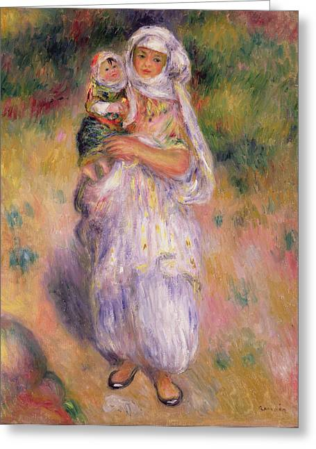 Enfants Greeting Cards - Algerian Woman and Child Greeting Card by Pierre Auguste Renoir