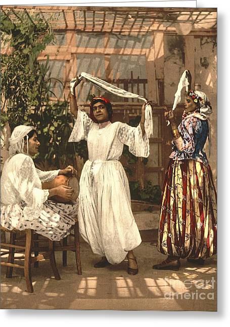 Dappled Light Greeting Cards - Algiers Dancing Girls Greeting Card by Padre Art