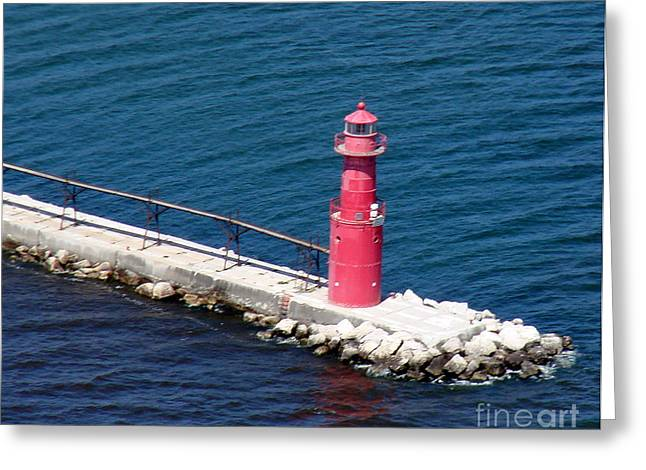Bill Lang Greeting Cards - A-004 Algoma Lighthouse Wisconsin Greeting Card by Bill Lang