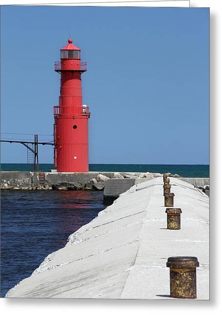 Algoma Lighthouse Pier Greeting Card by Mark J Seefeldt