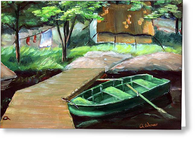 Row Boat Greeting Cards - Algonquin Fishing Camp Greeting Card by Otto Werner