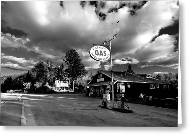 Small Towns Greeting Cards - Algonquin Gas Station Greeting Card by Cale Best