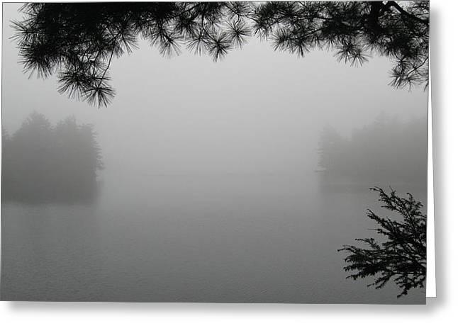 Mist Pyrography Greeting Cards - Algonquin Morning Greeting Card by Waldemar Okon