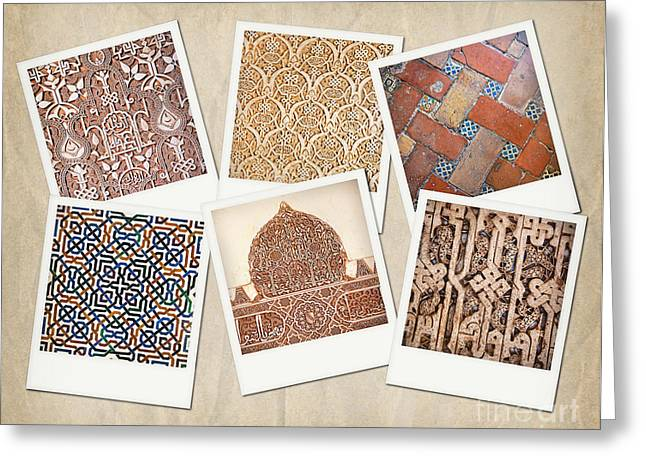 Granada Greeting Cards - Alhambra textures Greeting Card by Jane Rix