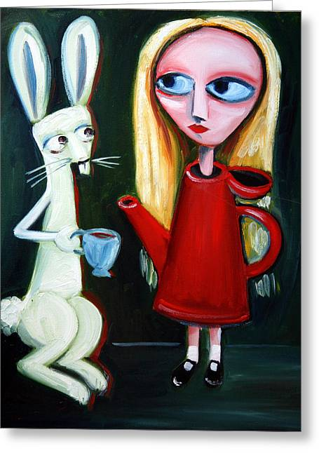 Mad Hatter Paintings Greeting Cards - Alice A Tea Pot Greeting Card by Leanne Wilkes