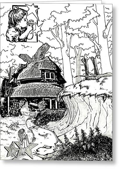 March Hare Greeting Cards - Alice at the March Hares House Greeting Card by Keith QbNyc