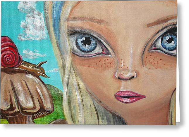 Arts In Wonderland Greeting Cards - Alice Finds a Snail Greeting Card by Jaz Higgins