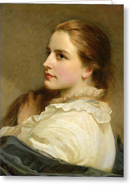Lace Collar Greeting Cards - Alice Greeting Card by Henry Tanworth Wells
