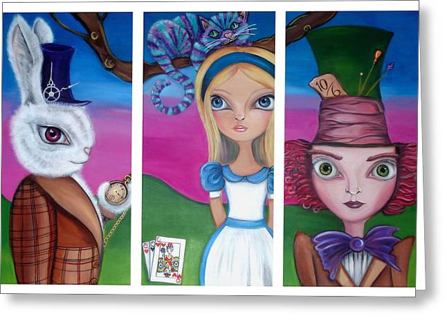 Mad Hatter Greeting Cards - Alice in Wonderland Inspired Triptych Greeting Card by Jaz Higgins