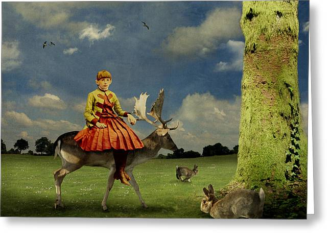 Art In Squares Greeting Cards - Alice Greeting Card by Martine Roch