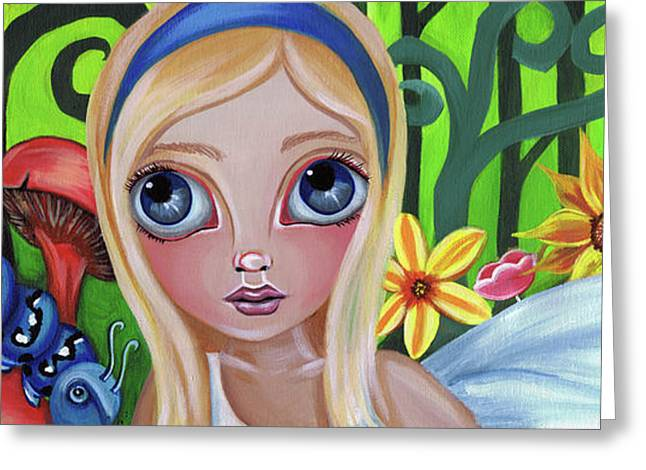 Alice Meets the Caterpillar Greeting Card by Jaz Higgins