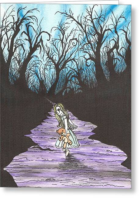 Burton Mixed Media Greeting Cards - Alice on the Run Greeting Card by Anthony McCracken