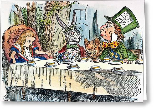 Mad Hatter Greeting Cards - Alices Mad-tea Party, 1865 Greeting Card by Granger