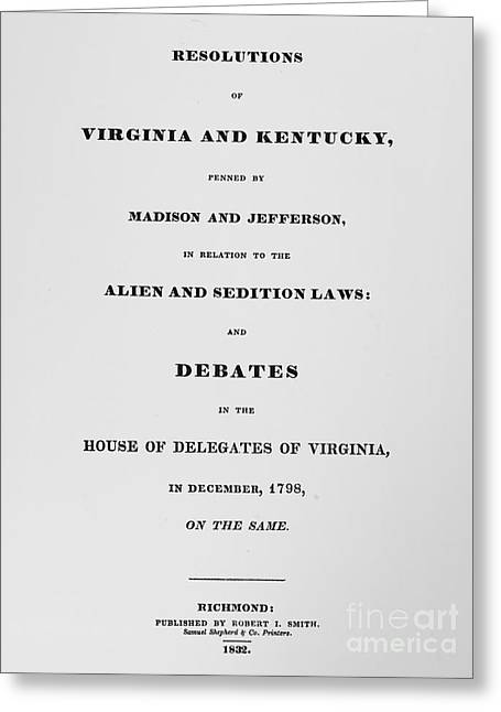 Protest Greeting Cards - Alien & Sedition Acts, 1798 Greeting Card by Granger
