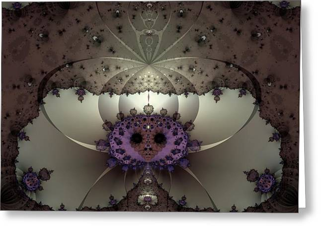Purple Abstract Beige Greeting Cards - Alien Exotica Greeting Card by Casey Kotas