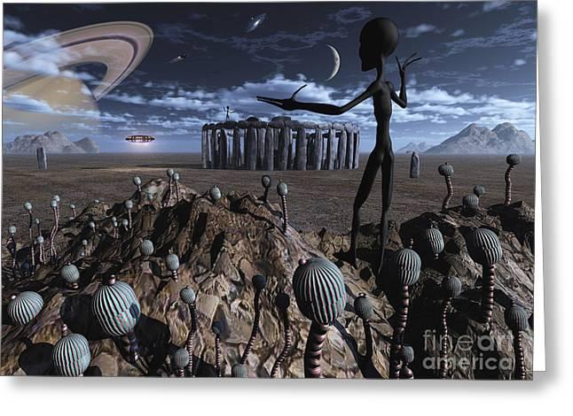 Skinny Greeting Cards - Alien Explorers On An Alien World Greeting Card by Mark Stevenson