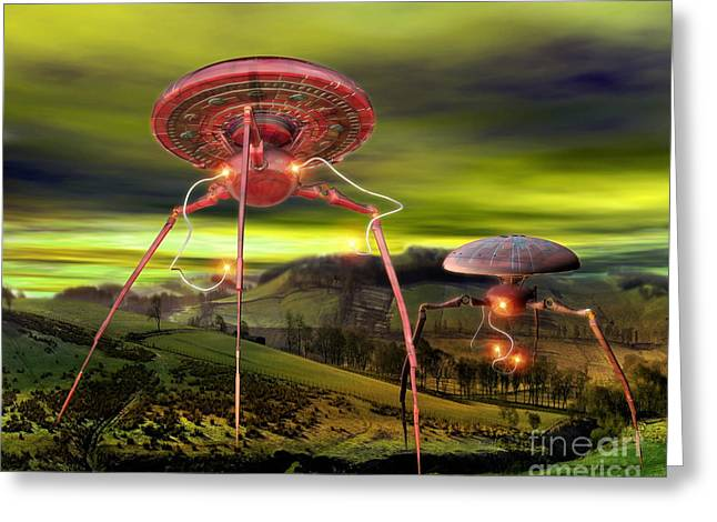 Alien Invasion Greeting Card by Victor Habbick Visions and Photo Researchers