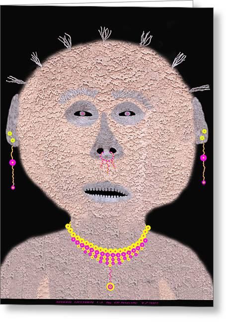 Morphing Digital Greeting Cards - Alien  Lifeform From  Stucco  World  -  One Greeting Card by Carl Deaville