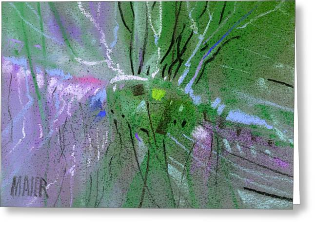 Fantacy Greeting Cards - Alien Memories 1 purple Greeting Card by Donald Maier