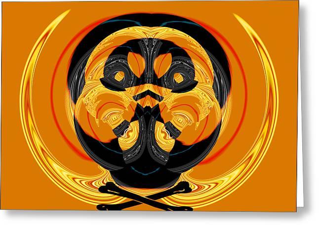 Pumpkins Mixed Media Greeting Cards - Pumpkin Pirate Skull Greeting Card by Heinz G Mielke