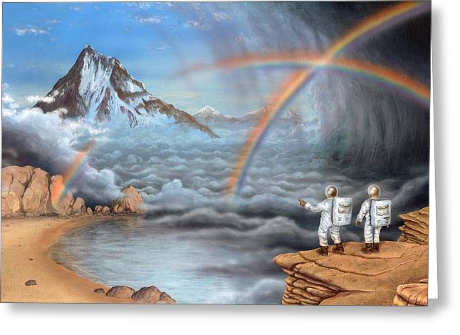 Double Rainbow Greeting Cards - Alien Planet Exploration, Artwork Greeting Card by Richard Bizley