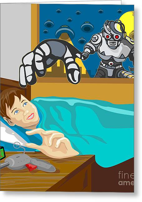 Invaders Greeting Cards - Alien Robot Snatching Kid Greeting Card by Aloysius Patrimonio
