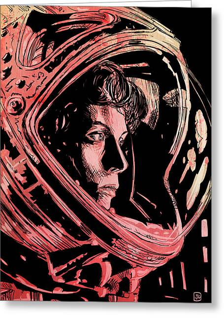 Alien Drawings Greeting Cards - Alien Sigourney Weaver Greeting Card by Giuseppe Cristiano