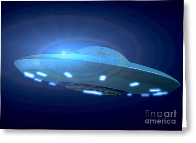 Clouds In Motion Greeting Cards - Alien Spacecraft Greeting Card by Gregory MacNicol and Photo Researchers