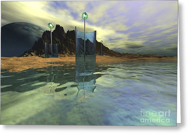 Fantasy World Greeting Cards - Alien Structures Gather Light Greeting Card by Corey Ford