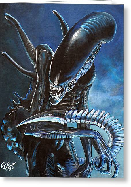 Horror Movies Greeting Cards - Alien Greeting Card by Tom Carlton