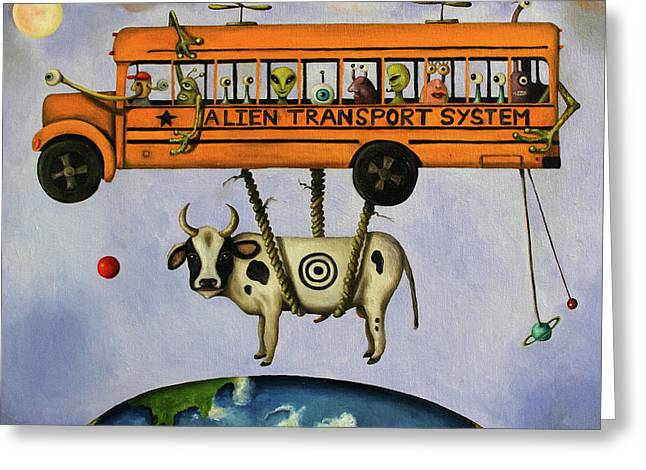Martians Greeting Cards - Alien Transport System Greeting Card by Leah Saulnier The Painting Maniac