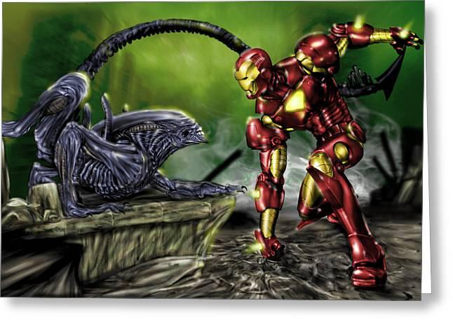Cartoon Alien Greeting Cards - Alien vs Iron Man Greeting Card by Pete Tapang