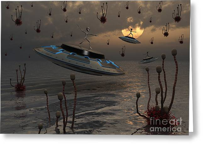 Flying Saucers Greeting Cards - Aliens Celebrate Their Annual Harvest Greeting Card by Mark Stevenson