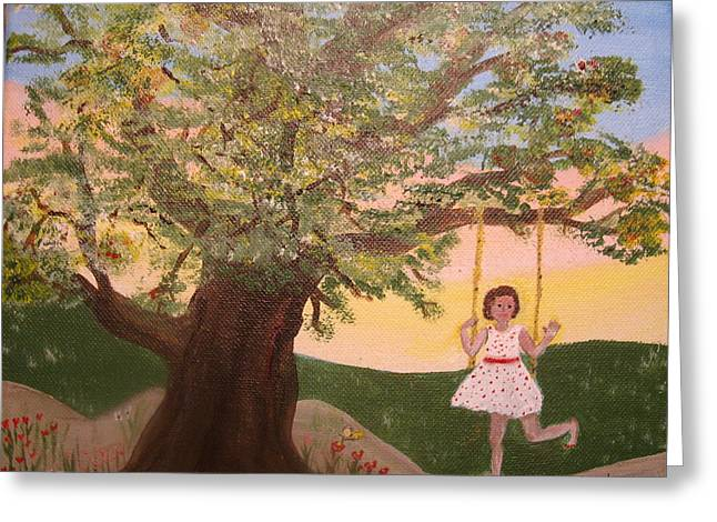 Child Swinging Paintings Greeting Cards - Alison Sweet Alison Greeting Card by Jane Williams Clayton