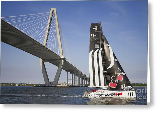 Opened Greeting Cards - Alize III Racing Yact Under the Arthur Ravenel Jr Bridge Charleston SC Greeting Card by Dustin K Ryan