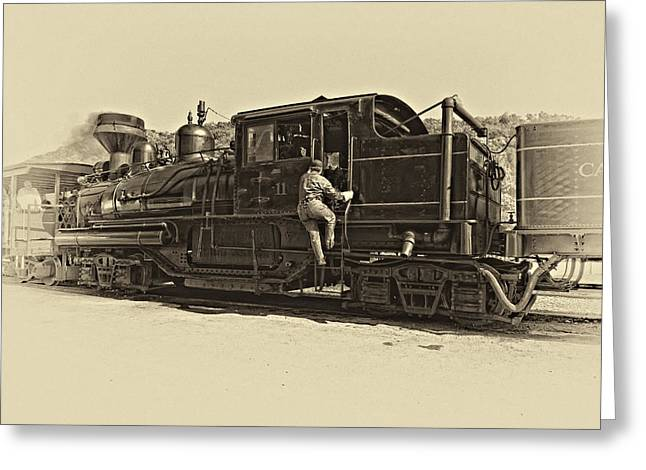 Old West Photography Greeting Cards - All Aboard antique Greeting Card by Steve Harrington