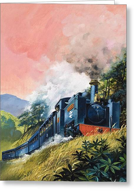 Operating Greeting Cards - All Aboard for Devils Bridge Greeting Card by English School