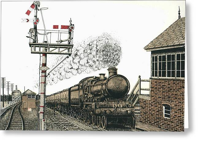 Pen And Ink Realism Greeting Cards - All Aboard Greeting Card by Mike OBrien