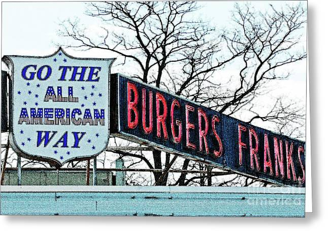 Cuisine Art Greeting Cards - All American Burgers  Greeting Card by adSpice Studios