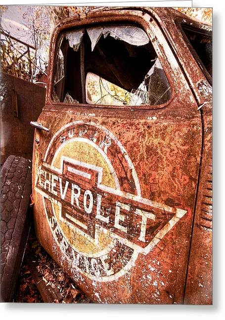 Old Truck Photography Greeting Cards - All American Greeting Card by Debra and Dave Vanderlaan