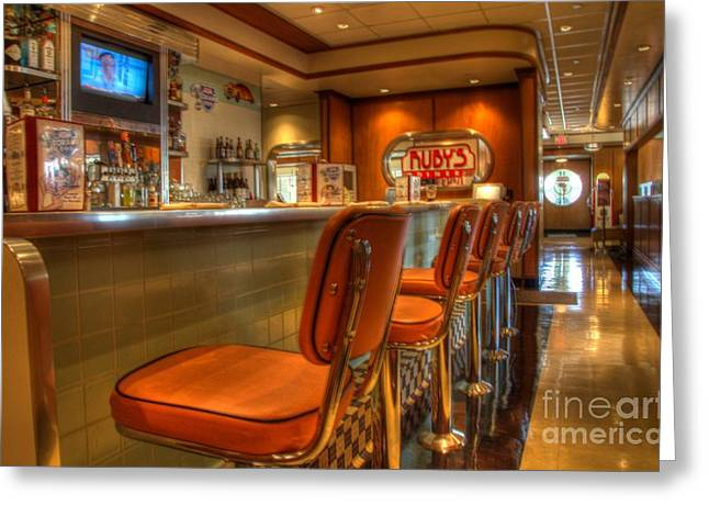 Table And Chairs Photographs Greeting Cards - All American Diner 3 Greeting Card by Bob Christopher
