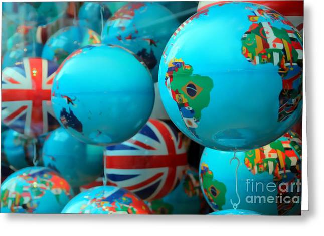 Planet Map Greeting Cards - All around the Globes Greeting Card by Sophie Vigneault