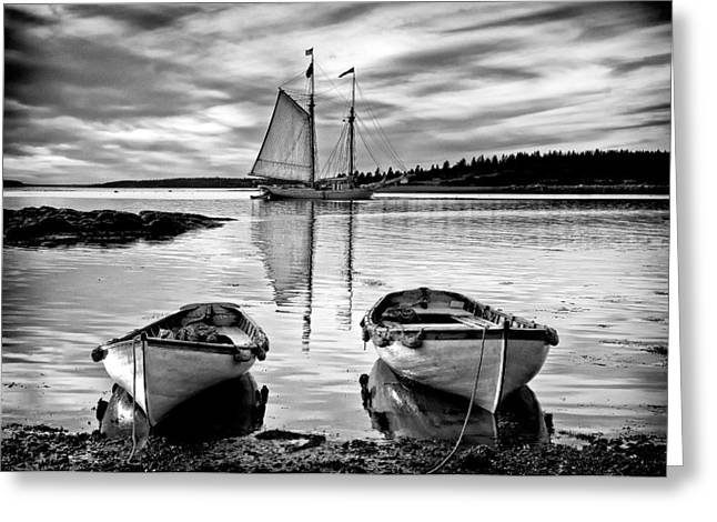 Schooner Greeting Cards - All Ashore II Greeting Card by Fred LeBlanc