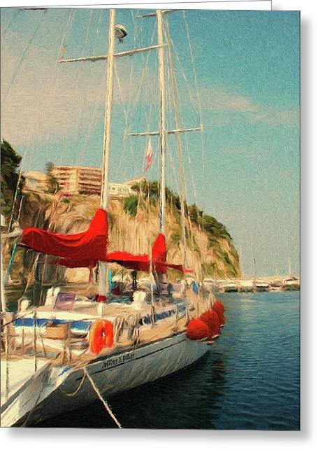Sail Boats Greeting Cards - All Ashore Greeting Card by Jeff Kolker