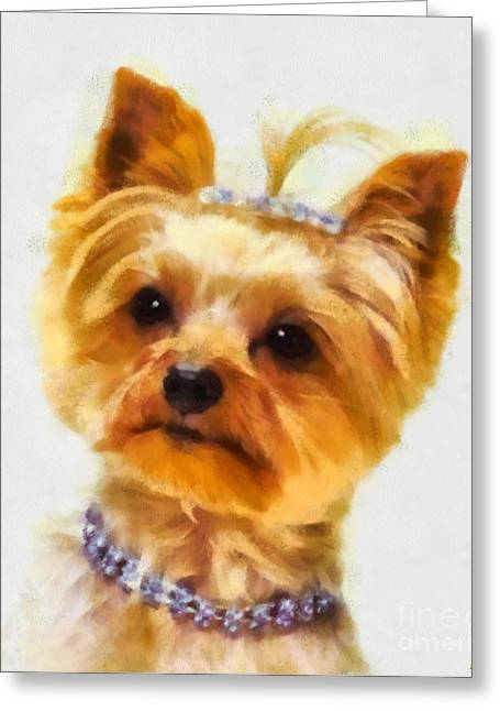 Yorkshire Terrier Watercolor Greeting Cards - All Dressed Up Greeting Card by Elizabeth Coats